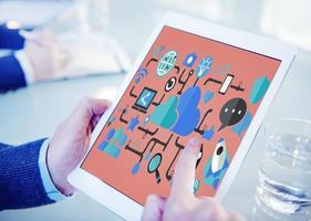 concept de connexion de la technologie des réseaux sociaux photo