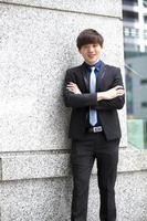 jeune, asiatique, mâle, affaires, cadre, sourire, portrait photo
