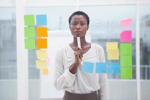 femme d'affaires réfléchie tenant un marqueur photo