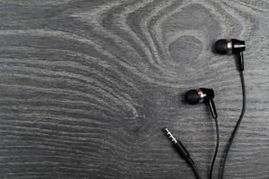 écouteurs noir sur photo