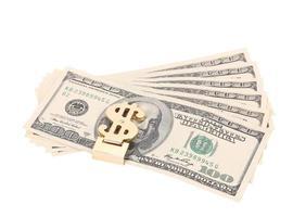 billets de cent dollars en pince à billets photo