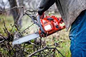 ouvrier bûcheron, un homme coupe du bois de feu dans la forêt photo