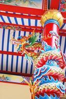 sculpture de dragon au temple chinois.