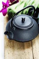 service à thé asiatique et paramètres du spa photo