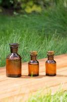 petites bouteilles brunes sur booden board et herbe photo