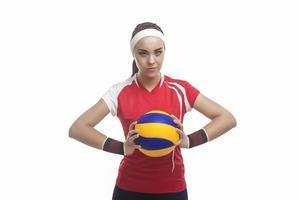 portrait, caucasien, professionnel, femme, volley-ball, joueur, équipé, volley-ball, équipement photo