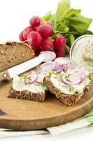 pain de lard aux radis rouges, rondelles d'oignon et cresson