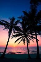 plage au coucher du soleil. photo