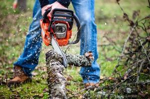 ouvrier bûcheron en tenue de protection complète couper du bois de chauffage photo