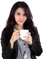 femme, boire, café photo