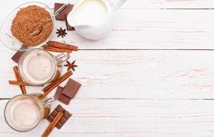 boisson chaude au cacao. Contexte. photo