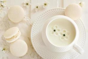 lait et macaron photo