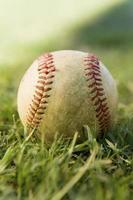 baseball assis sur l'herbe photo