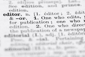 définition de l'éditeur dans le dictionnaire anglais. photo