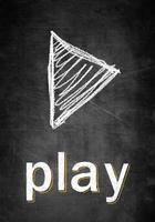 jouer, symbole, craie, planche, conceptuel, croquis photo