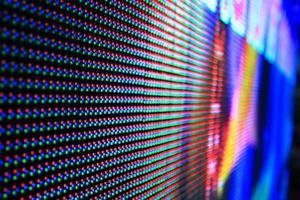 Gros plan du panneau lumineux led multicolore photo