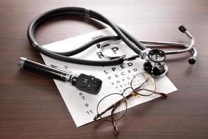 ophthalmoskop, sehtest, brille und stethoskop photo