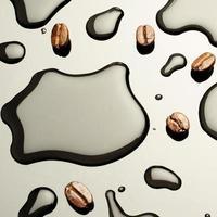 chicchi di caffè con macchie d'acqua su fondo grigio