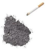 cendre en forme d'uruguay et une cigarette. (série) photo