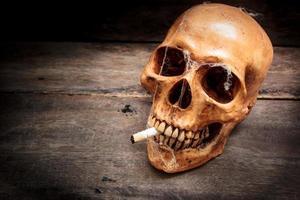 crâne avec cigarette, nature morte. photo