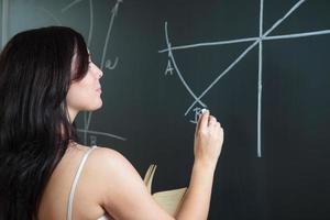 jolie jeune professeur écrit sur le tableau noir photo