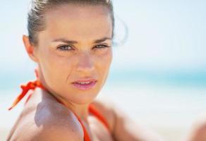 portrait, jeune, femme, plage photo
