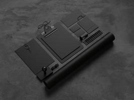 maquette d'éléments sur le fond noir. Rendu 3D photo