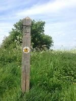Cotswold way marker près de Bath, Somerset, Angleterre photo