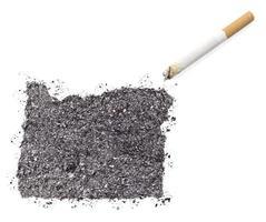cendre en forme d'orégon et une cigarette. (série) photo