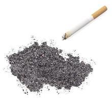 cendre en forme de république tchèque et une cigarette. (série) photo