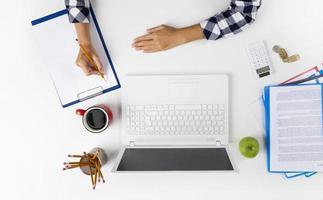 femme affaires, travailler, cahier photo