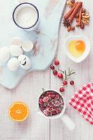 Ingrédients du gâteau aux canneberges et à l'orange