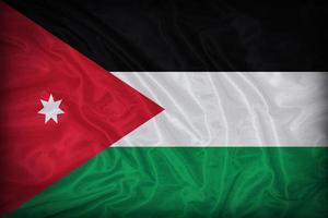 Modèle de drapeau de la Jordanie sur la texture du tissu, style vintage photo