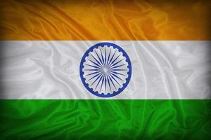 Modèle de drapeau de l'Inde sur la texture du tissu, style vintage