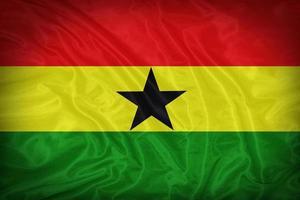 Drapeau du Ghana sur la texture du tissu, style vintage photo