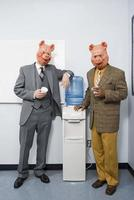 deux, hommes affaires, porc, masques photo