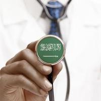 stéthoscope avec drapeau national série conceptuelle - Arabie saoudite photo