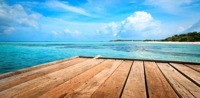 jetée, plage et jungle - fond de vacances