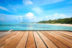 jetée, plage et jungle - fond de vacances photo
