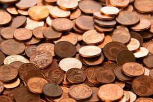 fond de pièces de monnaie. pièces en euros. photo
