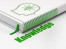 concept de l'éducation: tête de livre avec ampoule, connaissances sur fond blanc photo