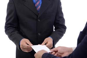 homme affaires, démissionner, emploi, et, compensation, lettre photo