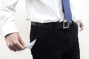 pauvre homme d'affaires avec des poches vides photo