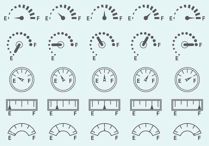 Icônes vectorielles de jauge de carburant vecteur