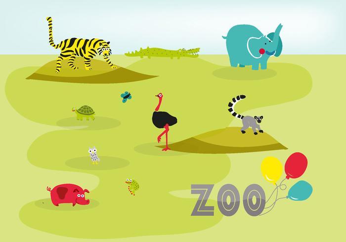 Gratuit, mignon, dessiné, zoo, animaux, vecteur, fond vecteur