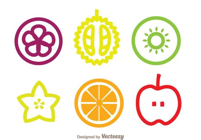Tranche d'icônes de fruits vecteur