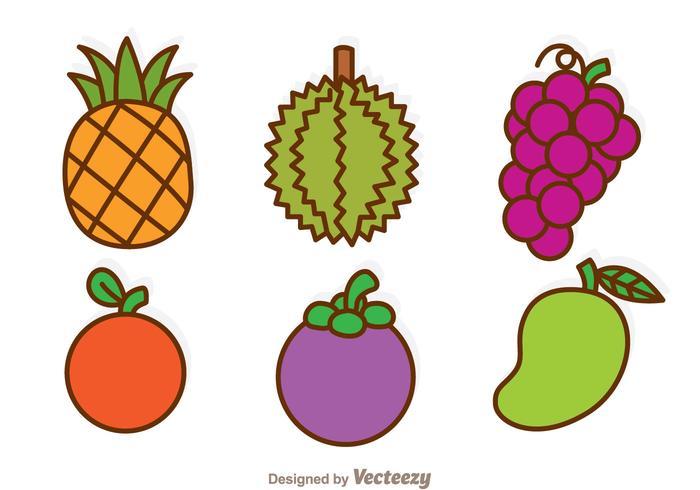 Icônes de dessins animés de fruits vecteur