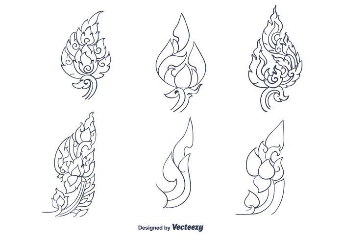Vecteur de motif thaïlandais dessiné à la main