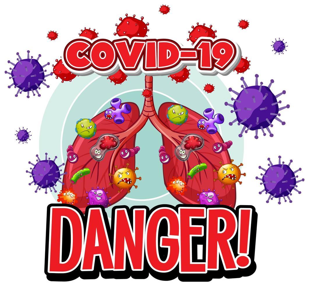 cellules du virus covid-19 dans les poumons humains vecteur