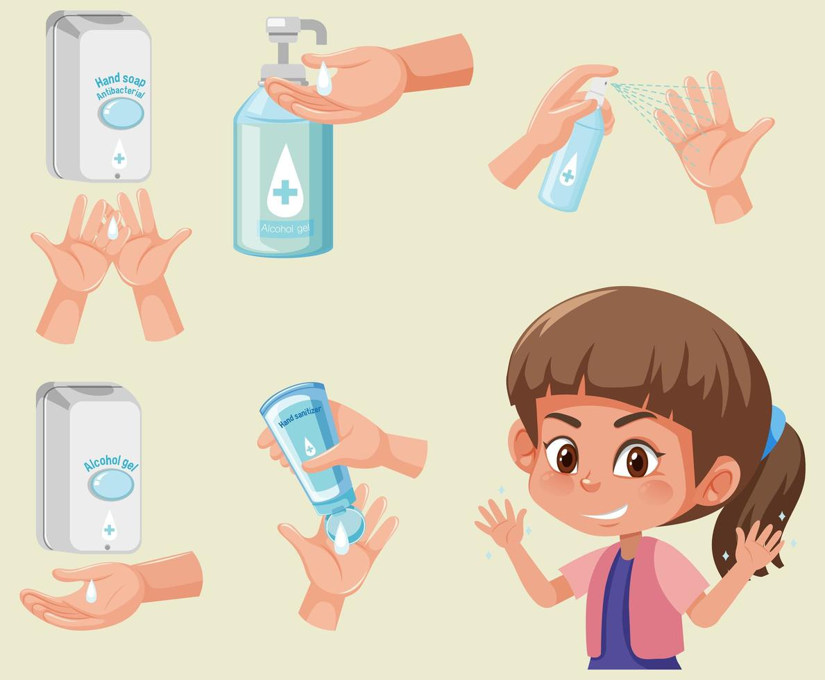 comment se désinfecter les mains vecteur